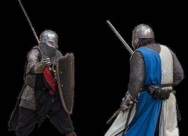 rytíři před bojem